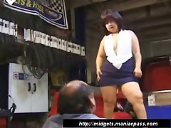 Asian midget banged in her shaven muff