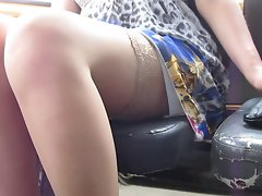 Flashing stockings in a bus 2