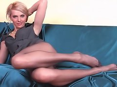 Gaunt chick with long pantyhose legs