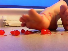 Sticky boyfeet crushing cherries!