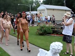 Naked wenches walking at nude contest