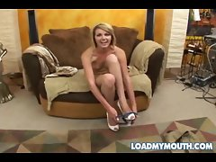 Blond cutie on her knees eating dick