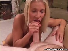 Dick sucking and a big facial for chesty blondie