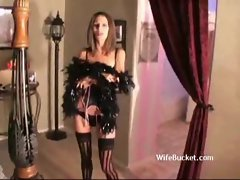 Young woman in lovely lingerie is preppred for asshole
