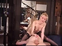 Dominant blond sits on his face and caresses him