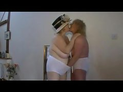 Lewd grannies in lingerie fingering and kissing