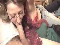 Mummy in glasses slowly fellatio shaft