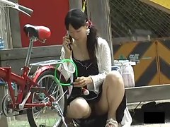 Asian young lady upskirts outdoors are attractive