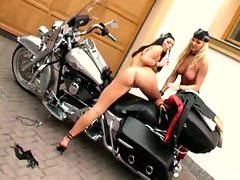 Attractive biker cuties having lesbo sex