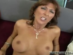 Banging her cougar knockers and her dripping cunt