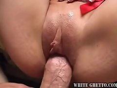 The slutty girl bobs up and down on the pecker