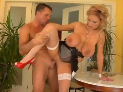 French maid with big titties banged wild