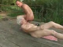 Granny nympho shagged on the deck