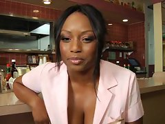 Ebony waitress shags the chef in the restaurant