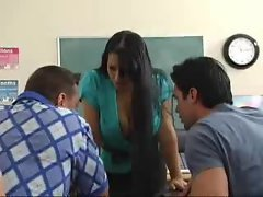 Big titted dark haired classroom wild fuck