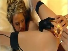 Extremely filthy light-haired in gloves has sex