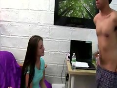 Attractive college randy chicks get facial after licking prick