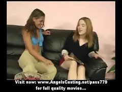 Three beautifull lesbo lasses with natural knockers talking outside