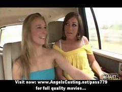 Three sexual charming lesbo randy chicks undressing and hooters massage
