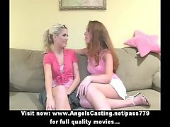 Three wonderful charming lezzy slutty chicks talking and touching