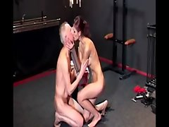 19 years old domina treats her senior subject to a sensuous cock sucking