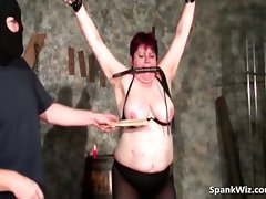 Buxom big titted dark haired gets tied part2