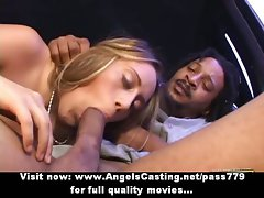 Amazing tempting blonde flashes knockers and snatch and does cock sucking for afro fellow