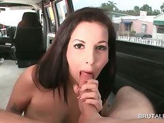 Dick sucking in the bus with lewd amateur