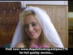 Amateur superb light-haired bride perfect talking and flashing panties
