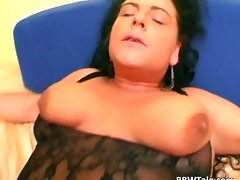 Lewd ebony lingerie on filthy plumper body part1