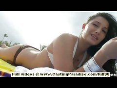 Sasha charming teenager gf with big bum and natural hooters having fun on the beach