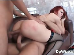Dark haired and redhead getting double part3
