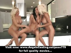 Lez trio with filthy bombshells in 69 and toying and caressing vagina