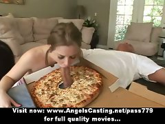 Stunning dark haired doing dick sucking and titsjob for pizza chap with pizza on