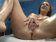 Oil massage fond large melons dark haired part3