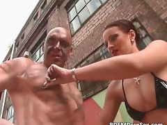 Outdoor BDSM whit phallus jerking play part3