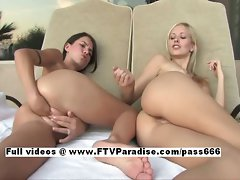 Michaela and Lena funny lusty lesbo teenages fisting