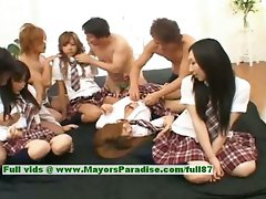 Seductive japanese V models have fun with an orgy