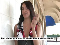 Claire charming dark haired slutty girl public posing