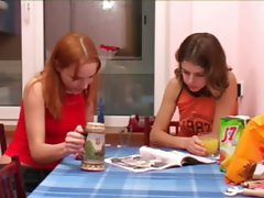 Masha and Ivana teenagers peeing on toilet