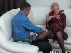 Racy experienced light-haired gets slit banged part5