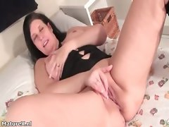 Sensual dark haired attractive mom laying part4