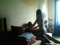 Young woman Rides Her BF Like Wild And Orgasms