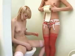 Sensual russian serious toy testing on toilet