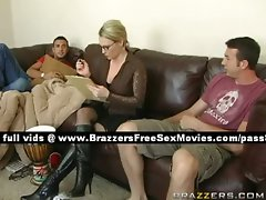 Randy tempting blonde wench gets in a house with two chaps
