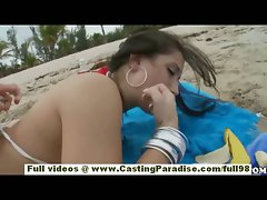 Sasha independent sassy teen cutie with natural knockers and big butt is public flashing vagina on the beach