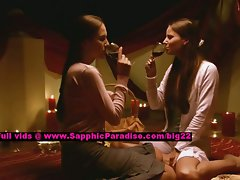 Deny and Linnea lesbian lasses caressing