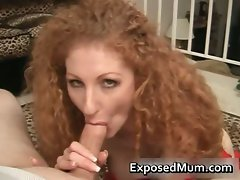 Curly cougar fills her mouth with stiff part3