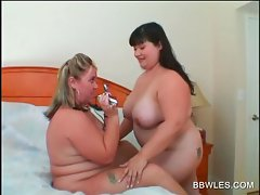 Lezzy Obese couple caressing big lewd hooters