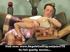 Top heavy blond does dick sucking and titsjob for pizza lad and undresses